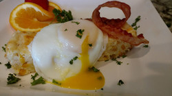 Corn Pudding with Poached Egg