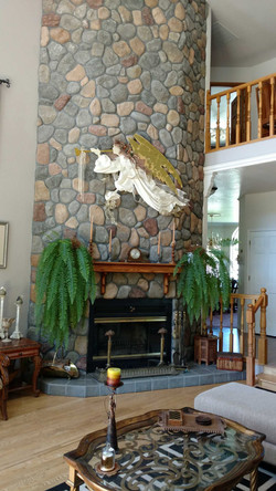 Massive two-story high Fireplace