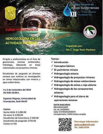 Cursos Pre Congreso: Hidrogeología en las actividades mineras y Modelación de la recarga artificial de agua subterránea con PHREEQC