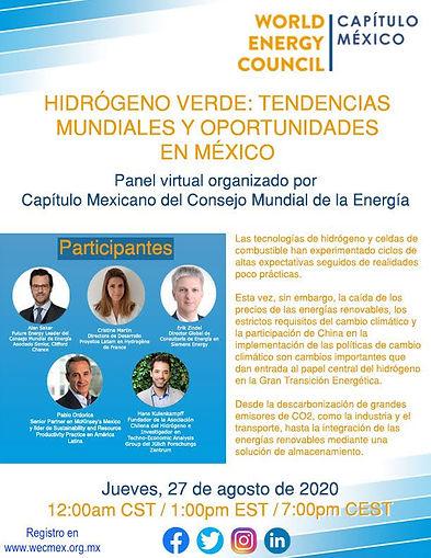 Panel Virtual: Hidrógeno verde, tendencias mundiales y oportunidades en México