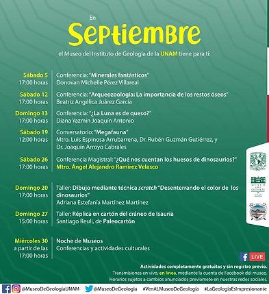 Programa Eventos Mes de Septiembre - Museo de Geología, IGL-UNAM
