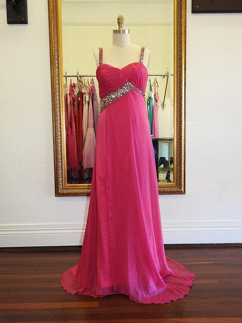 Fuchsia crinkle silk dress, size 8