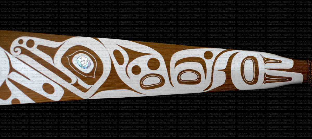 Red Cedar Paddle with Abalone Inlay