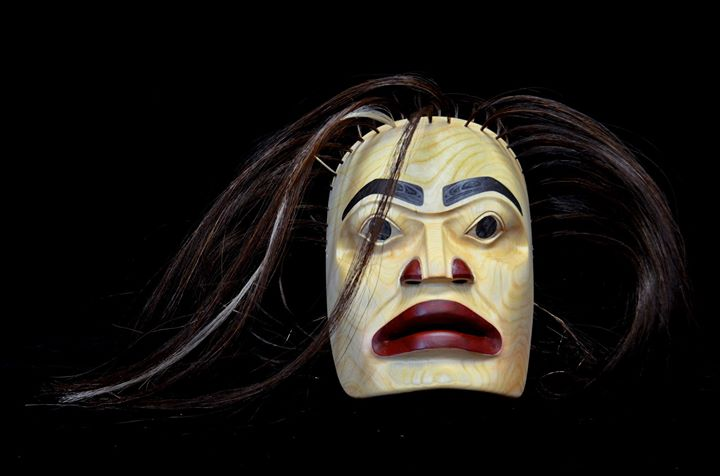 Alder Carved Portrait Mask