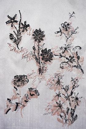 Napkin print with stitch on silk