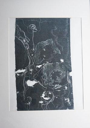 Organic pattern print on distressed fabric with stitch