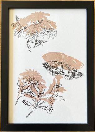 Butterfly and Daisy on paper