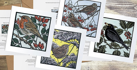 Robin and Hips, Winter Wren, Redwings, Blackbird and Holly Seasonal Cards