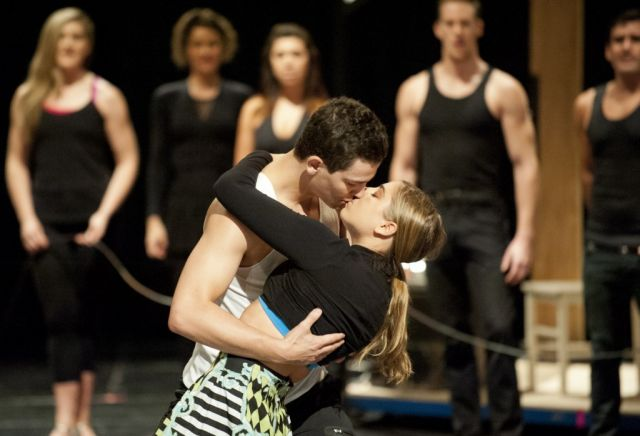 Thomas Lacey as Scott and Phoebe Panaretos as Fran in rehearsals for Strictly Ballroom
