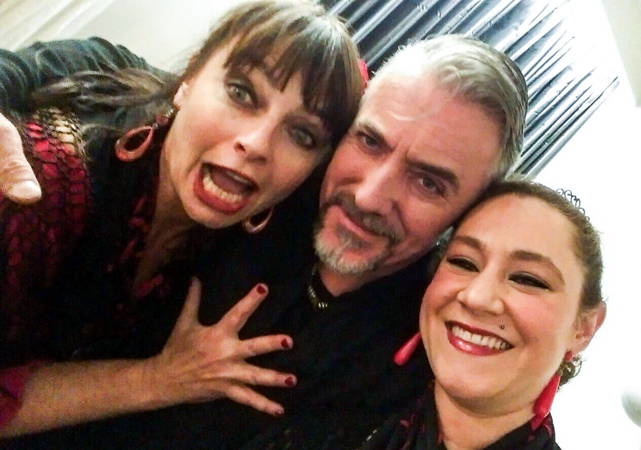 Pre show shananigans with Laura Uhe and Chantelle