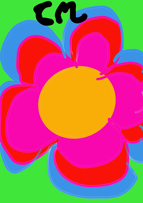 Poppin' Flower - 5x7 print matted