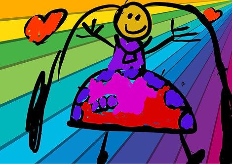 Rainbow, Hearts, & Hugs - 5x7 print matted