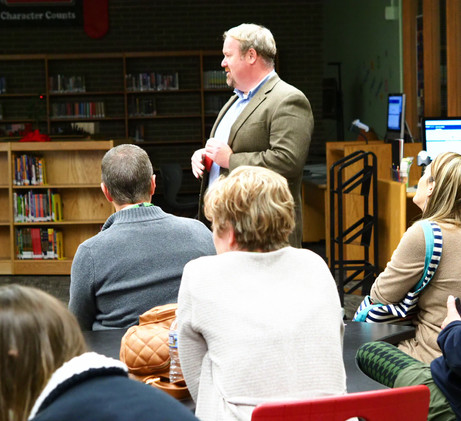Ben Crawford, principal of China Grove elementary, welcoming the Innovation Academy to his school.