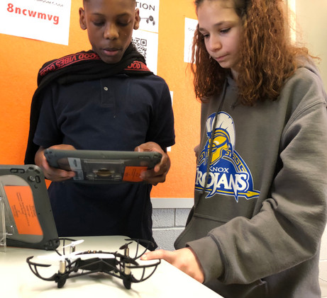 Coding a drone at Knox Middle