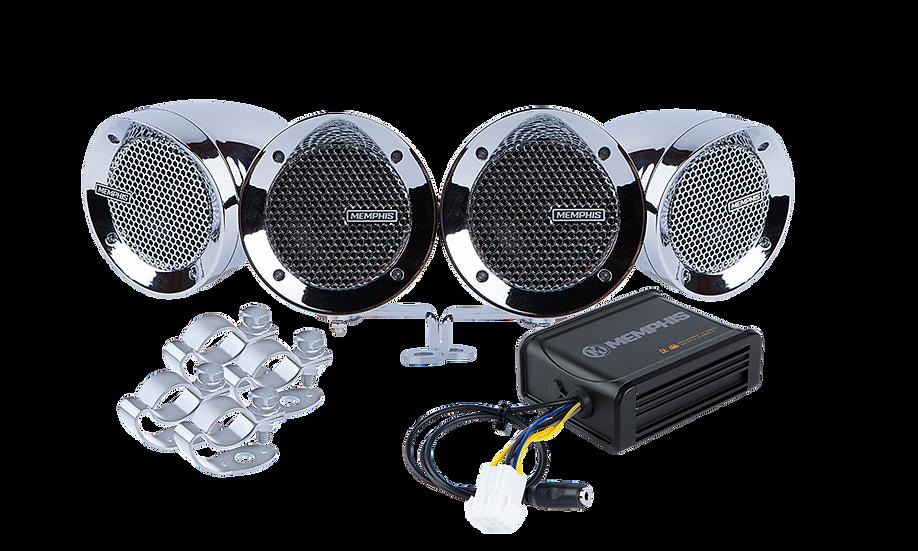 MXABMC4 - 4 Chrome Bullet Style Powersports Speaker Kit W/ Amplifier