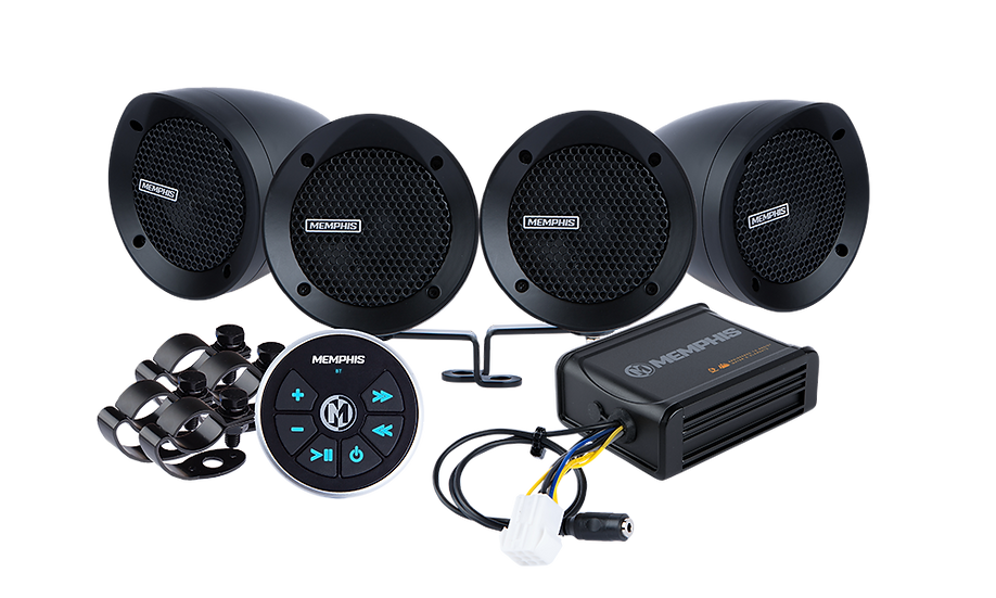 MXABMB4BT - 4 Black Bullet Style Powersports Speaker Kit With Bluetooth