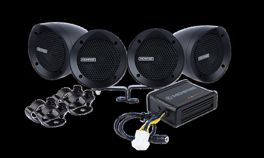 MXABMB4 - 4 Black Bullet Style Powersports Speaker Kit W/ Amplifier
