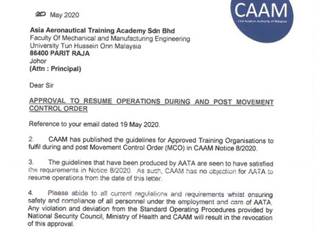 Approval from CAAM Resume Operation