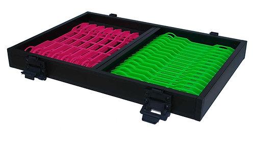CASIER NOIR 16 PLIOIRS VERTS 18,9X1,6 / 8 PLIOIRS ROSES 26 X 2,4