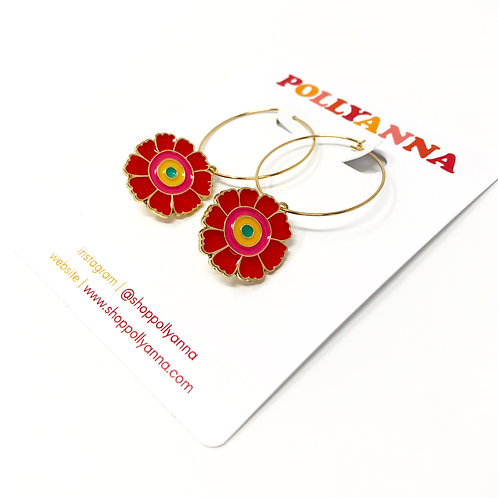 pop art poppy hoops