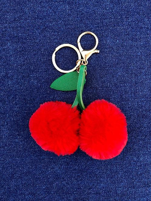 cherry pom pom keychain