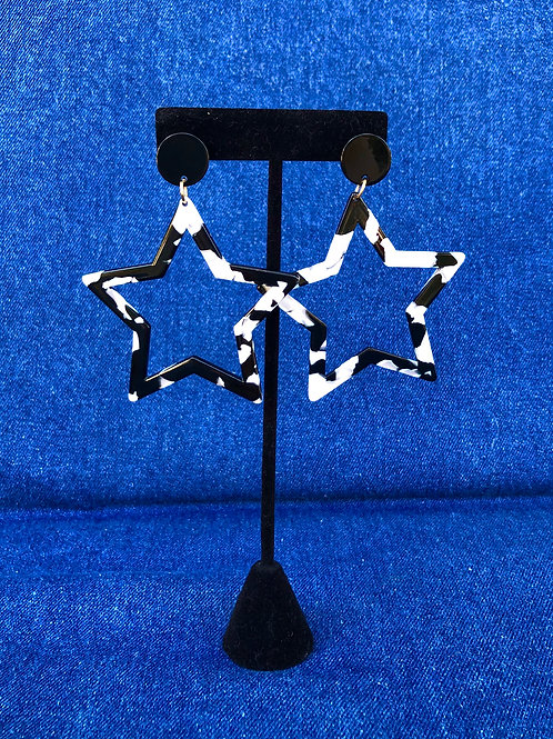 rising star earrings (b&w)