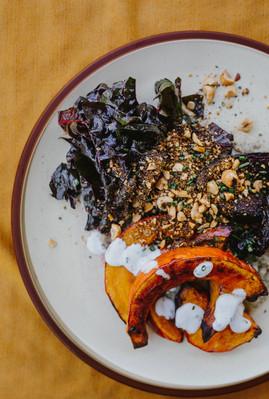 Roasted Pumpkin, Chard Salad and Dukkha