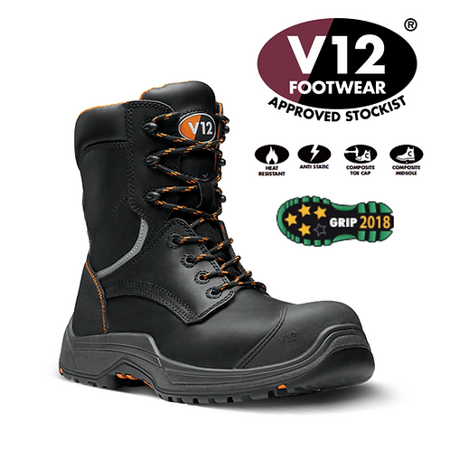 V12 Avenger IGS Black S3 HRO SRC Zip Side Hi-Leg Boot VR620.01