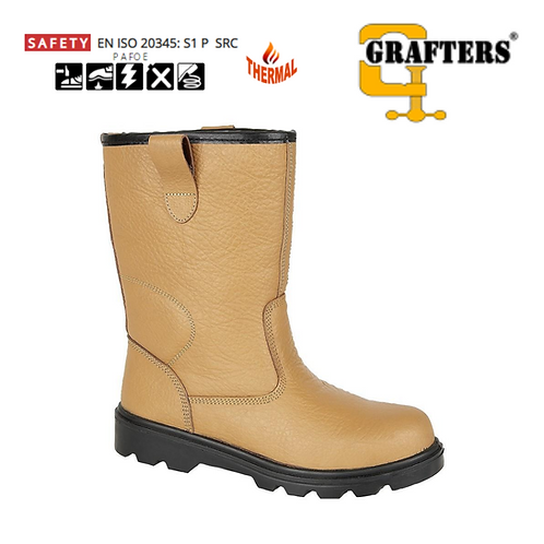 GRAFTERS Tan Leather Thermal Safety Rigger Boot M020BSM