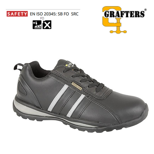 GRAFTERS Black/Grey Action Coated Leather Safety Trainer M090A
