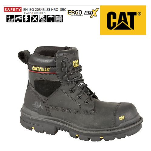 CAT Gravel S3 Black Oily Leather Safety Boots CT015A