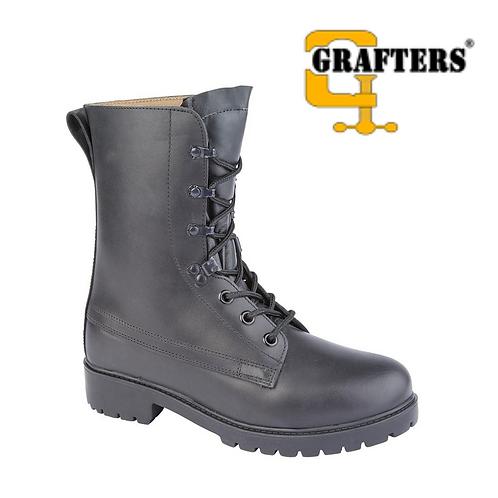 GRAFTERS Assault Black Full Grain Leather Assault Boot M9666A