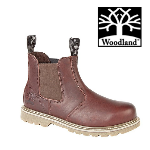 WOODLAND Dark Brown Tumbled Leather Gusset Chelsea Boot  M858B