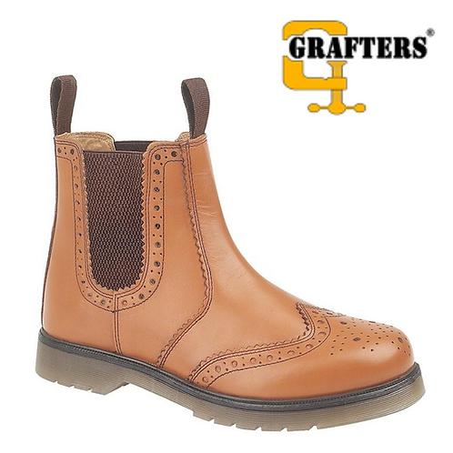 GRAFTERS Tan Leather Brogue Gusset Dealer Boot M757BT