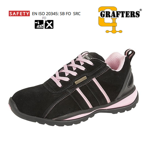 GRAFTERS Black/Pink Real Suede Womens Safety Trainer L985AS