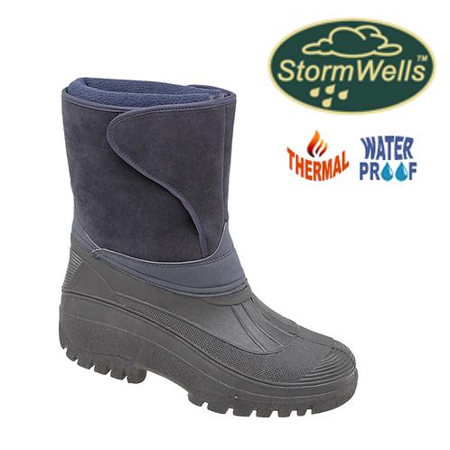 STORMWELLS Navy Blue Imitation Suede/PVC Insulation Boot W236C
