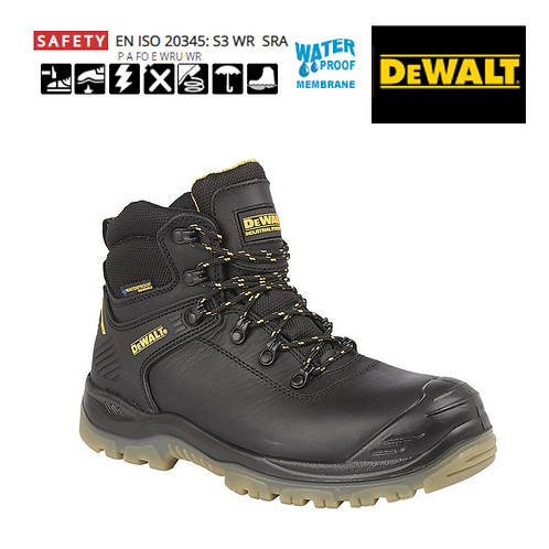DEWALT Newark Black Full Grain Leather Waterproof Safety Boot DW002A