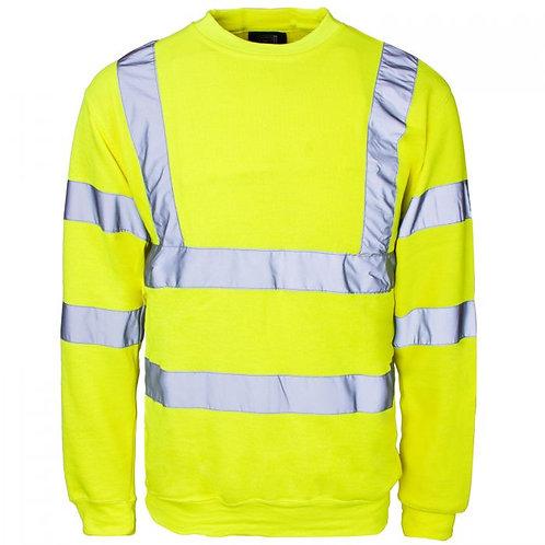 Supertouch Hi Vis Yellow Crew Neck Sweatshirt H66
