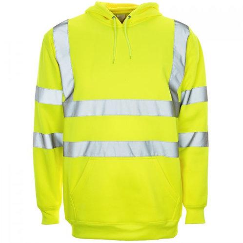 Supertouch Hi Vis Yellow Hooded Sweatshirt H68