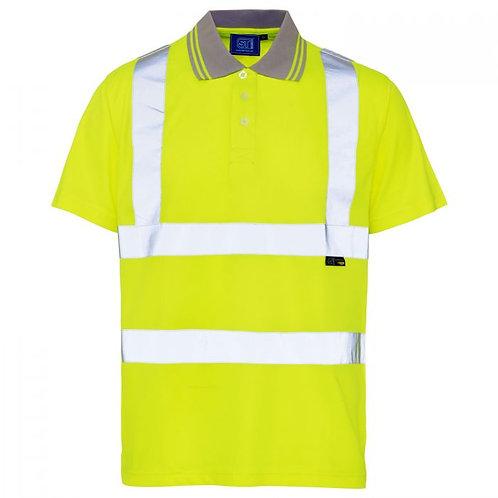 Supertouch Hi Vis Yellow Bird Eye Polo Shirt H75