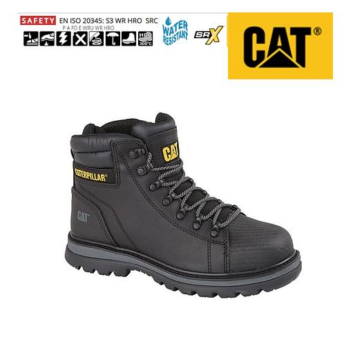 CAT Foxfield Black Leather Safety Boot CT004A