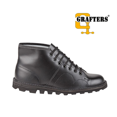 GRAFTERS The Original Retro Monkey Boot Black Coated B430A+