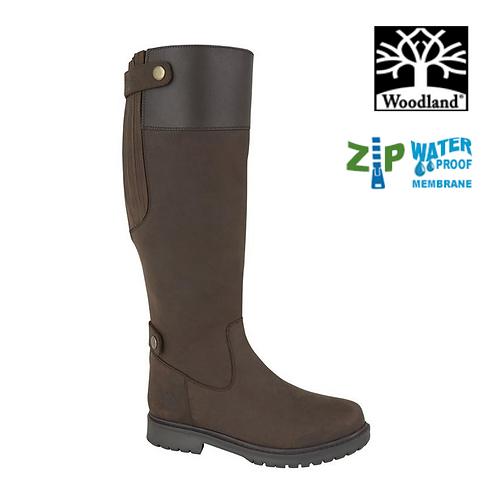 WOODLAND Harper Dark Brown Waxy Leather Zip Up Waterproof Boot L257DB