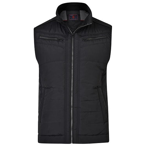 Quilted Black Biker Gilet KBS KV103 by Kam Jeanswear - Up to 6XL