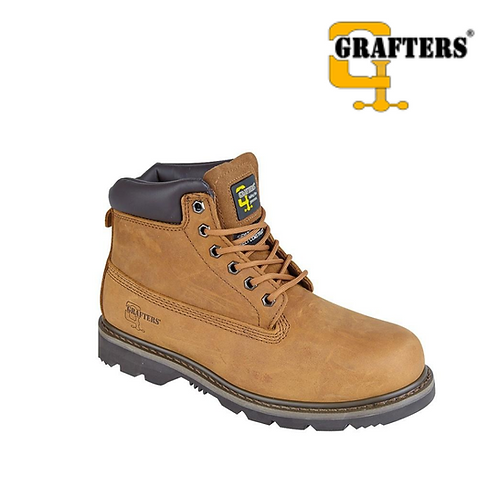 GRAFTERS Light Brown Crazy Horse Leather Work Boot M030B
