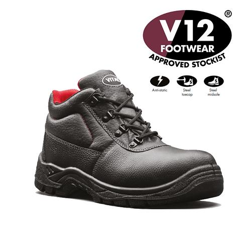 V12 ELK II Black Grained S3 4 D-Ring Boot VT6471