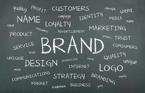 Brand brainstorming on black board