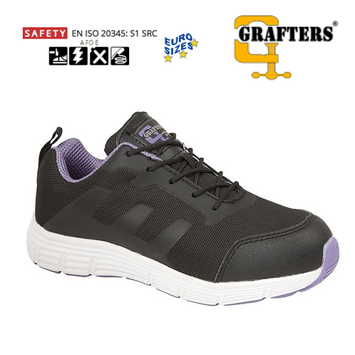 GRAFTERS Black Nylon Mesh/Lilac Womens Safety Trainer L517A