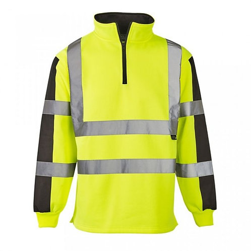Supertouch Hi Vis 2 Tone Yellow/Navy Rugby Shirt HVRS1