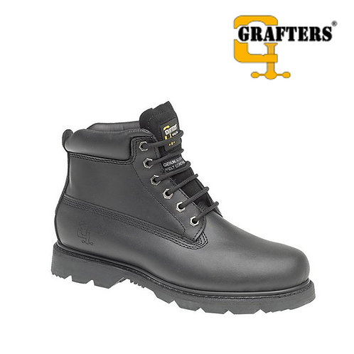 GRAFTERS Black Full Grain Leather Work Boot M030A